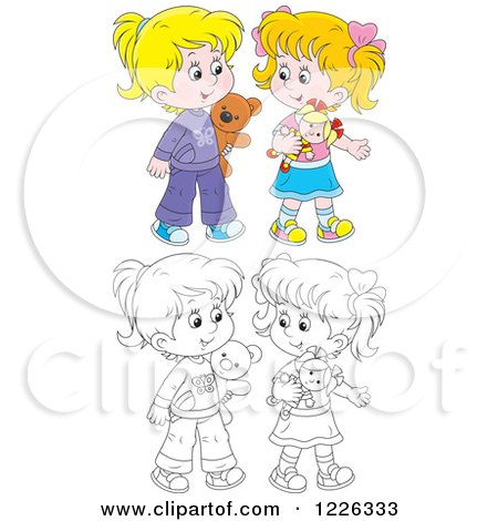 Clipart of Outlined and Colored Girls Playing with a Doll and Teddy Bear - Royalty Free Vector Illustration by Alex Bannykh