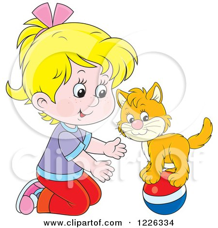 Clipart of a Caucasian Girl Teaching Her Cat a Balance Trick on a Ball - Royalty Free Vector Illustration by Alex Bannykh