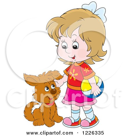 Clipart of a Caucasian Girl Petting a Puppy Dog - Royalty Free Vector Illustration by Alex Bannykh