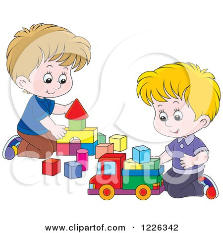 Clipart of Caucasian Boys Playing with Blocks - Royalty Free Vector Illustration by Alex Bannykh