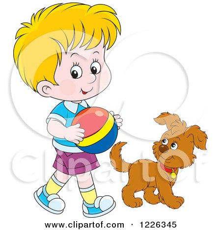 Clipart of a Caucasian Boy Walking with a Puppy and Ball - Royalty Free Vector Illustration by Alex Bannykh