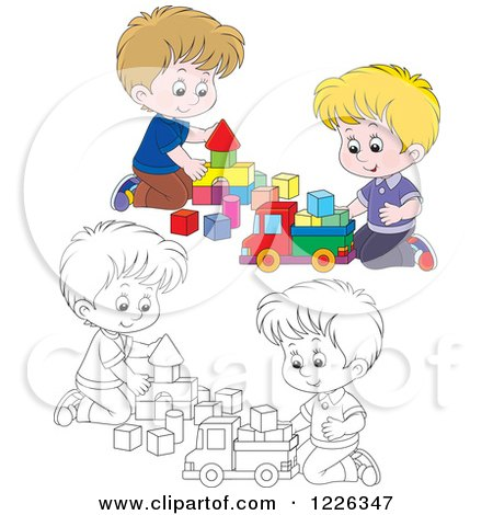 Clipart of Outlined and Colored Boys Playing with Blocks - Royalty Free Vector Illustration by Alex Bannykh