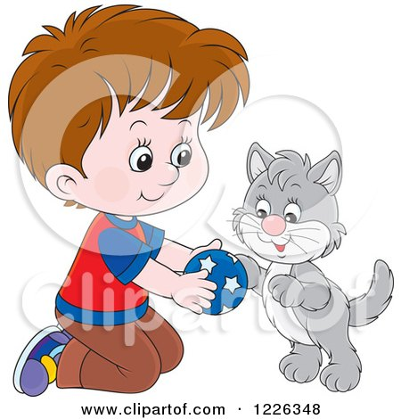 Clipart of a Caucasian Boy Kneeling and Playing with a Kitten - Royalty Free Vector Illustration by Alex Bannykh