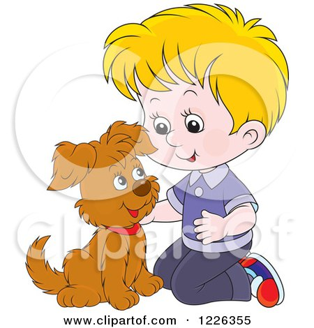 Clipart of a Caucasian Boy Kneeling and Petting a Puppy - Royalty Free Vector Illustration by Alex Bannykh