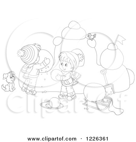 Clipart of an Outlined Puppy Watching Children Make a Snow Castle - Royalty Free Vector Illustration by Alex Bannykh