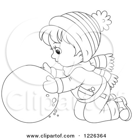 Clipart of an Outlined Boy Rolling a Ball of Snow - Royalty Free Vector Illustration by Alex Bannykh