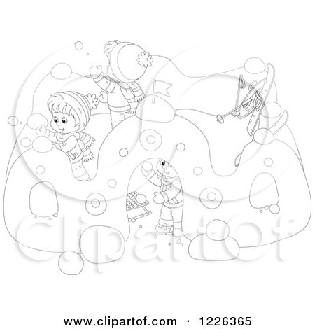 Clipart of Outlined Children Making a Castle in the Snow - Royalty Free Vector Illustration by Alex Bannykh