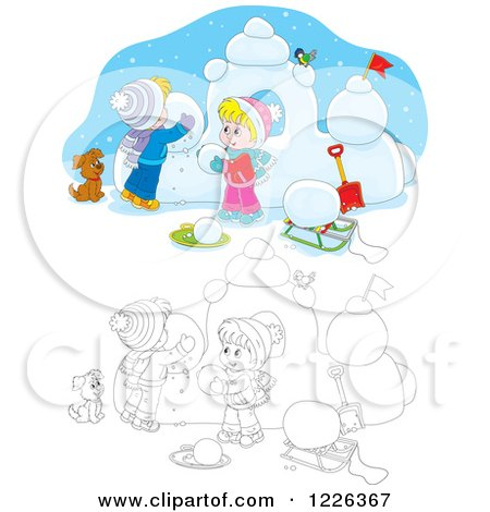 Clipart of an Outlined and Colored Puppy Watching Children Make a Snow Castle - Royalty Free Vector Illustration by Alex Bannykh