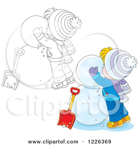 Clipart of an Outlined and Colored Boy Making a Snowman - Royalty Free Vector Illustration by Alex Bannykh