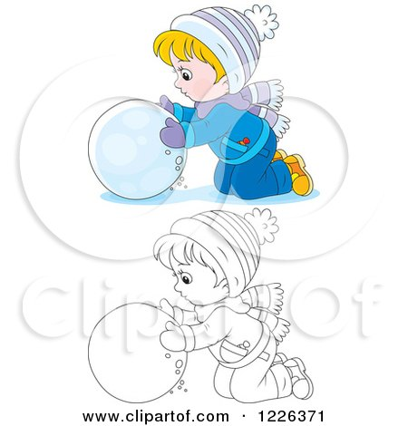 Clipart of an Outlined and Colored Boy Rolling a Ball of Snow - Royalty Free Vector Illustration by Alex Bannykh