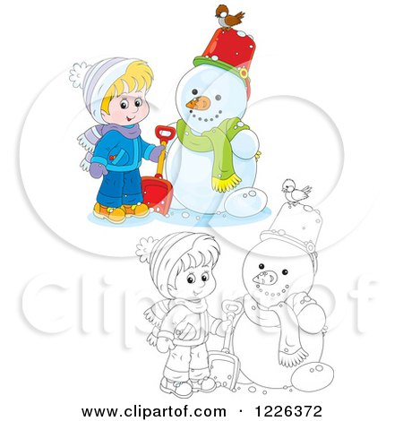 Clipart of an Outlined and Colored Boy by a Snowman - Royalty Free Vector Illustration by Alex Bannykh