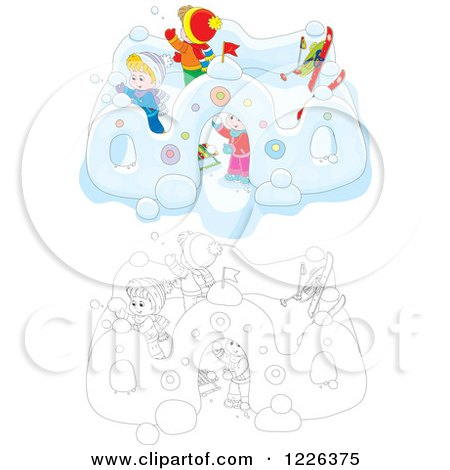 Clipart of Outlined and Colored Children Making a Castle in the Snow - Royalty Free Vector Illustration by Alex Bannykh
