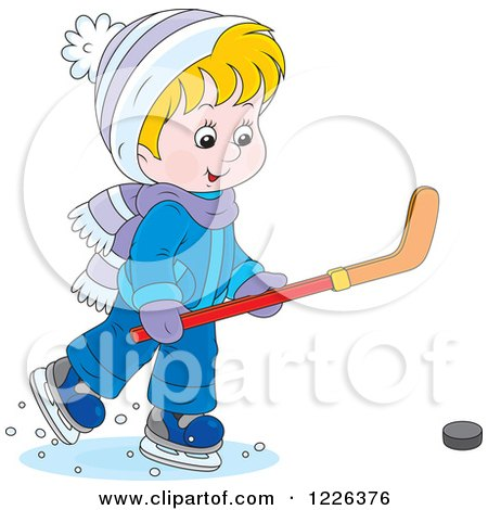 Clipart of a Caucasian Boy Playing Ice Hockey - Royalty Free Vector Illustration by Alex Bannykh