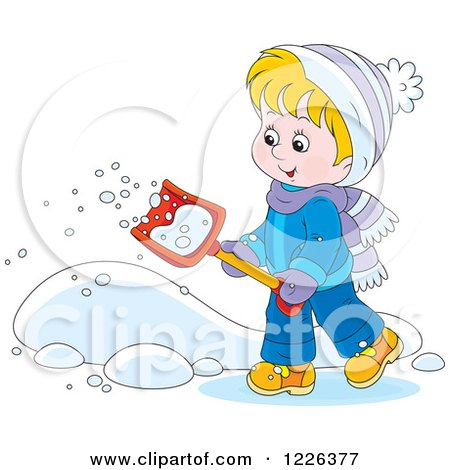 Clipart of a Happy Boy Shoveling Snow - Royalty Free Vector Illustration by Alex Bannykh