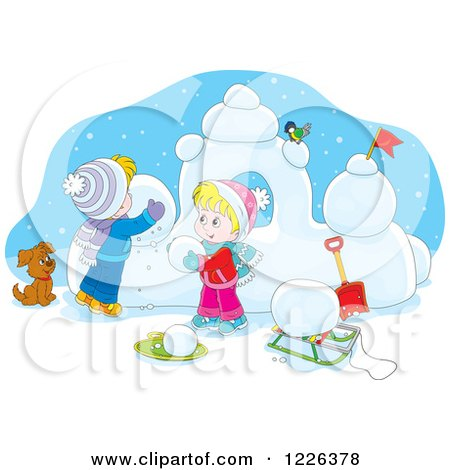 Clipart of a Puppy Watching Caucasian Children Make a Snow Castle - Royalty Free Vector Illustration by Alex Bannykh