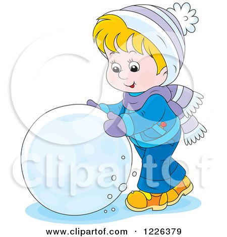 Clipart of a Caucasian Boy Rolling a Ball of Snow - Royalty Free Vector Illustration by Alex Bannykh