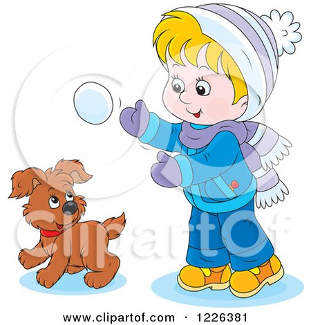 Clipart of a Caucasian Boy and Puppy Playing in the Snow - Royalty Free Vector Illustration by Alex Bannykh