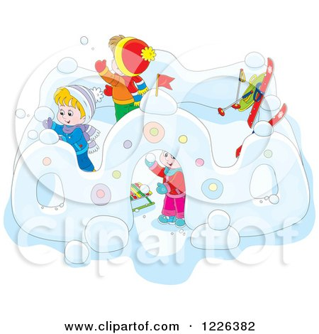 Clipart of Caucasian Children Making a Castle in the Snow - Royalty Free Vector Illustration by Alex Bannykh