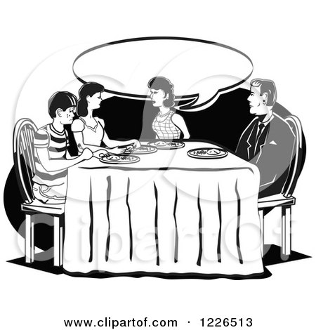 dinner table clipart black and white. retro family talking at the dinner table in black and white by andy nortnik clipart c