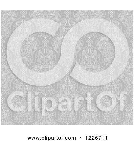 Clipart of a Grayscale Seamless Vintage Intricate Middle Eastern Motif Background Pattern - Royalty Free Vector Illustration by AtStockIllustration