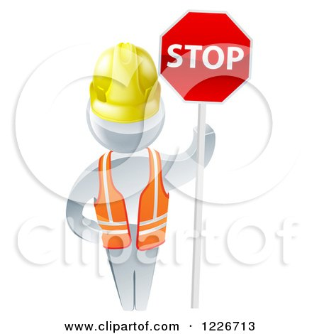 Clipart of a 3d Silver Road Construction Worker Man Holding a Stop Sign - Royalty Free Vector Illustration by AtStockIllustration