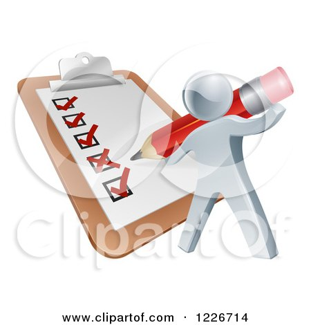 Clipart of a 3d Silver Man Filling out a List Form on a Clip Board - Royalty Free Vector Illustration by AtStockIllustration