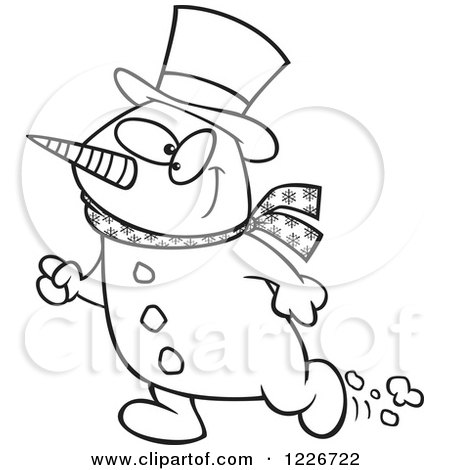Clipart of a Cartoon Black and White Happy Christmas Snowman Walking - Royalty Free Vector Illustration by toonaday