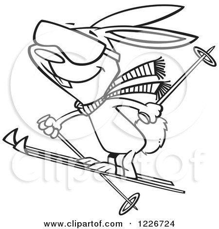 Clipart of a Cartoon Black and White Skiing Bunny Rabbit - Royalty Free Vector Illustration by toonaday