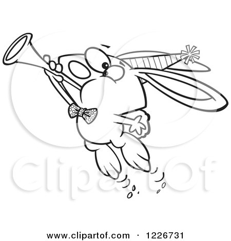 Cartoon Clipart of a Caucasian Man Tooting a Horn - Royalty Free ...