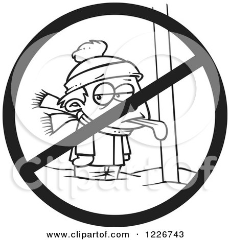 Clipart of a Cartoon Black and White Boy with His Tongue Stuck Frozen to a Pole with a Prohibited Symbol - Royalty Free Vector Illustration by toonaday