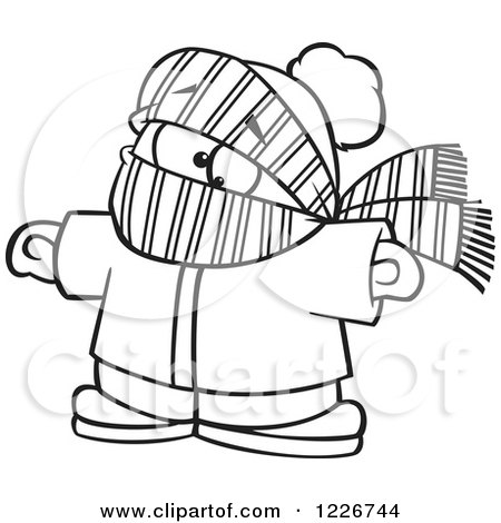 Clipart of a Cartoon Black and White Boy Bundled in Winter Apparel - Royalty Free Vector Illustration by toonaday