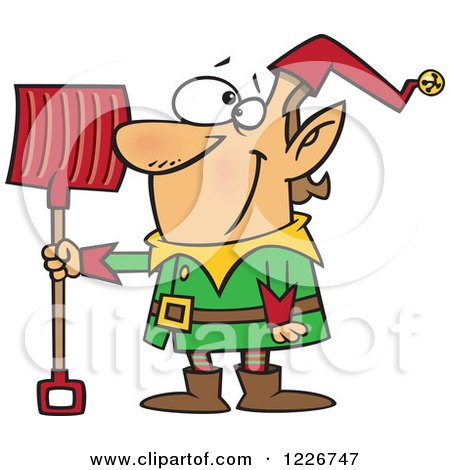 Clipart of a Cartoon Christmas Elf with a Snow Shovel - Royalty Free Vector Illustration by toonaday