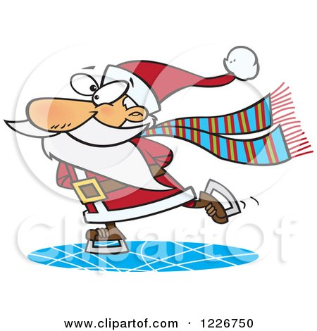 Clipart of a Cartoon Santa Claus Ice Skating - Royalty Free Vector Illustration by toonaday