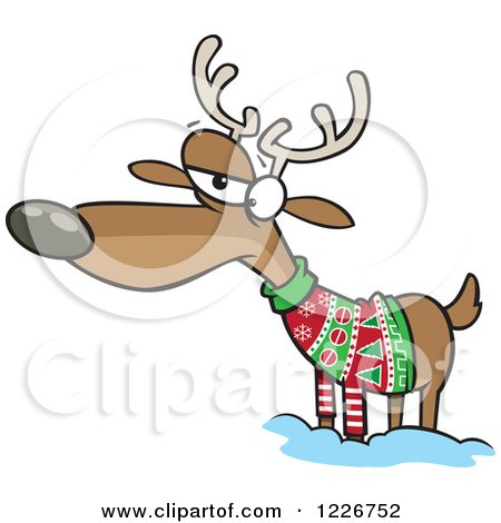 Clipart of a Cartoon Unhappy Reindeer in an Ugly Christmas Sweater - Royalty Free Vector Illustration by toonaday