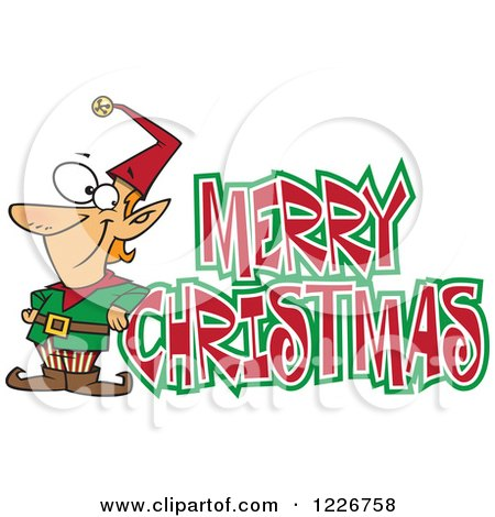 Clipart of a Cartoon Merry Christmas Greeting and Happy Elf - Royalty Free Vector Illustration by toonaday