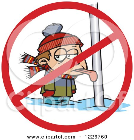 Clipart of a Cartoon Boy with His Tongue Stuck Frozen to a Pole with a Prohibited Symbol - Royalty Free Vector Illustration by toonaday