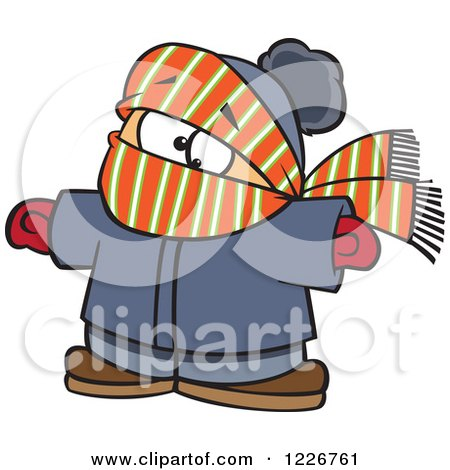 Clipart of a Cartoon Boy Bundled in Winter Apparel - Royalty Free Vector Illustration by toonaday