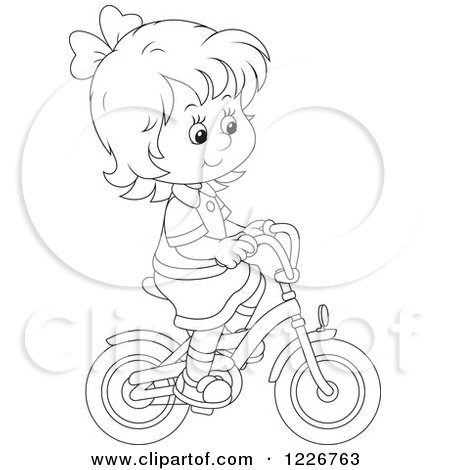 Girl bike riding coloring pages ~ Royalty-Free (RF) Clipart Illustration of an ...