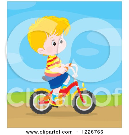 Clipart of a Happy Blond Boy Riding a Bicycle - Royalty Free Vector Illustration by Alex Bannykh