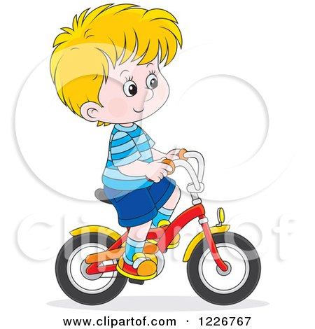 Clipart of a Happy Blond Boy Riding a Bike - Royalty Free Vector Illustration by Alex Bannykh