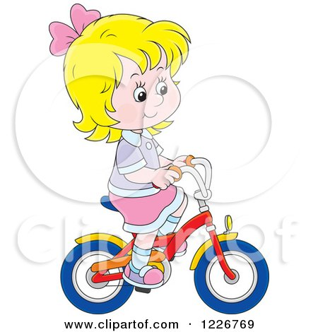 Clipart of a Happy Blond Girl Riding a Bike - Royalty Free Vector Illustration by Alex Bannykh