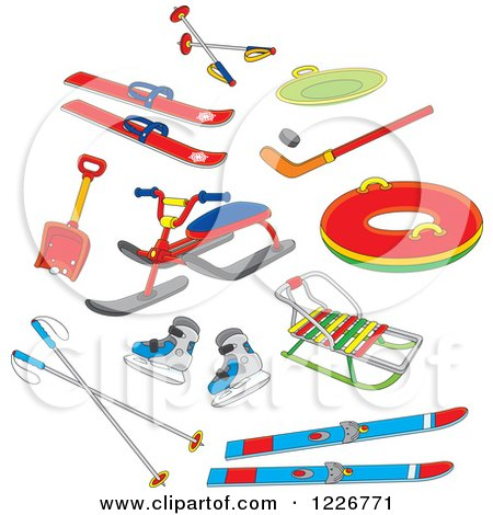 Clipart of Recreational Winter Snow Gear - Royalty Free Vector Illustration by Alex Bannykh