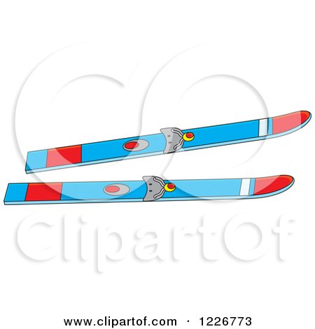 Clipart of Blue and Red Skis - Royalty Free Vector Illustration by Alex Bannykh