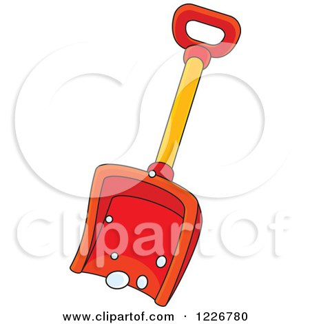 Clipart of a Red Snow Shovel - Royalty Free Vector Illustration by Alex Bannykh