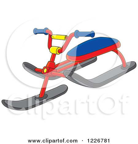 Clipart of a Snow Sled Trike Bike - Royalty Free Vector Illustration by Alex Bannykh