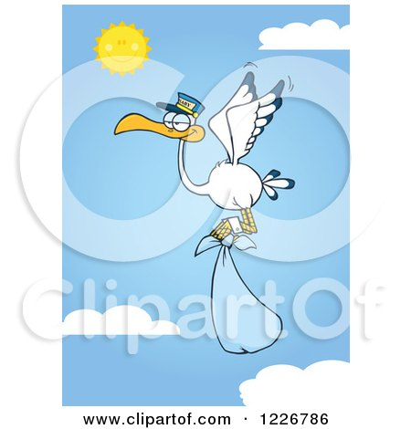 Clipart of a Stork Flying with a Blue Boy Bundle Against a Sky - Royalty Free Vector Illustration by Hit Toon