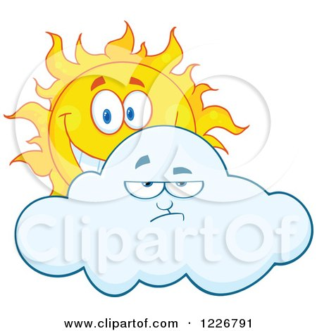 Clipart of a Cheerful Sun Behind a Grumpy Cloud - Royalty Free Vector Illustration by Hit Toon