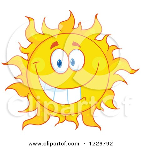 Clipart of a Cheerful Sun Mascot - Royalty Free Vector Illustration by Hit Toon