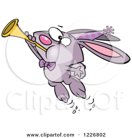Clipart of a Cartoon Purple New Year Party Rabbit Blowing a Horn - Royalty Free Vector Illustration by toonaday