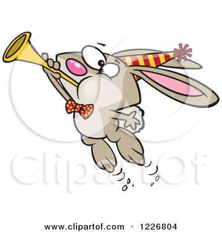 Clipart of a Cartoon New Year Party Rabbit Blowing a Horn - Royalty Free Vector Illustration by toonaday